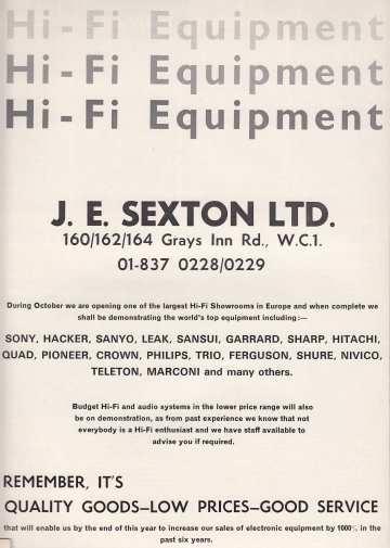 J E Sexton Oct '72
