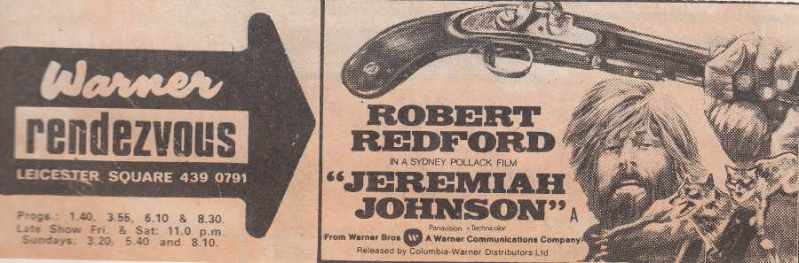 Jeremiah Johnson advert 1973