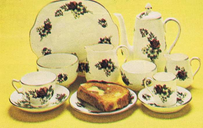 70s Red Rose Crockery